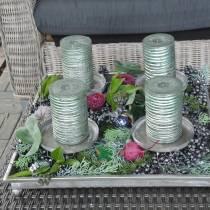 Advents-Tablett mit 4 Kerzenhaltern 40×40cm Antik-Look Metall/Glas Silbern