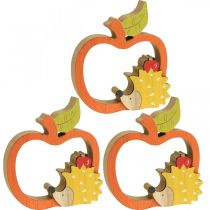 Dekofigur Herbst, Apfel mit Igel, Holzdeko 16,5×15cm 3St