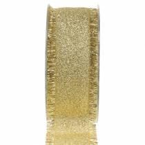 Deko Band Gold mit Fransen 40mm 15m