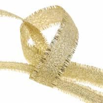 Deko Band Gold mit Fransen 15mm 15m