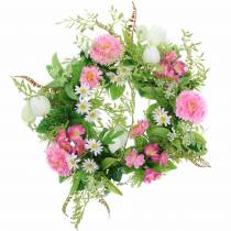 Kranz Bellis/Schachbrettblume Rosa, Weiß Ø30cm