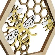 Bienenwabe zum Hängen, Sommerdeko, Honigbiene, Holzdeko, Bienen in Wabe 4St