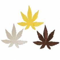 Streudeko Blätter Gelb, Braun, Platin Sortiert 4cm 72St