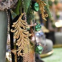 Baumanhänger mit Glitter, Deko-Federn zum Hängen, Weihnachtsdeko Golden L16cm 6St