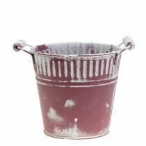 Blecheimer Lila weiß gewaschen Ø16cm H15cm 1St