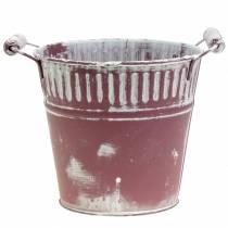 Blecheimer Lila weiß gewaschen Ø22cm H21cm 1St
