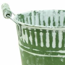 Blecheimer Grün weiß gewaschen Ø13-22cm