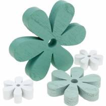 Streudeko Blüte Grün, Mint, Weiß Holz Blumen zum Streuen 29St