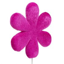 Blumenstecker Blüte bunt beflockt Ø8,5cm 8St