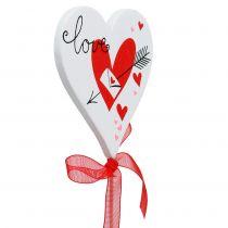 Blumenstecker Herz Weiß mit Schleife 7cm 12St