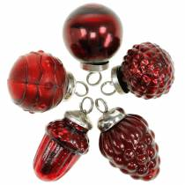 Mini-Baumschmuck Mix Herbstfrüchte und Kugeln Rot, Silbern Echtglas 3,4–4,4cm 10St