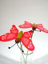 Schmetterling am Pick Holz pink (24St.)