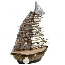 Deko Boot mit Zweigen und Muscheln 38cm