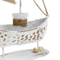 Deko Boot stehend Weiß H22cm