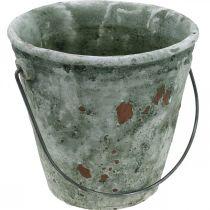 Deko-Eimer, Blumenkübel, Keramikeimer Antik-Optik Ø19,5cm H19cm