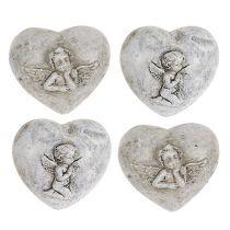 Mini-Deko-Herzen mit Engel 4cm Grau 8St