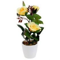 Deko-Rose im Topf Gelb 23cm