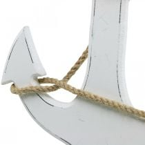 Deko Anker Holz Weiß Holzanker zum Hängen 24cm
