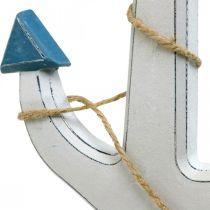 Deko Anker Holz Weiß, Blau Holzanker zum Hängen 23cm