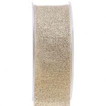 Deko Band mit Glimmer Gold 40mm 20m