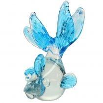 Deko-Fisch aus Glas klar, Blau 15cm
