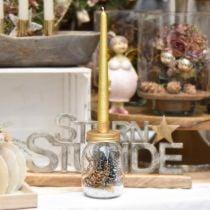 Deko Glas mit Kerzenhalter Golden Metalldeckel Ø8,5cm H16cm