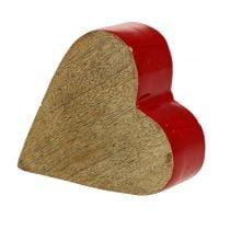 Deko Herz Holz Rot, Natur 11cm x 9,5cm