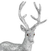 Deko Hirsch Silber, Glimmer H32cm B25cm