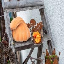 Deko Kürbis gekrümmt Orange beflockt Künstlicher Zierkürbis 18cm