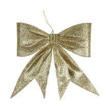 Deko-Schleife Gold, Glimmer L31cm B32cm
