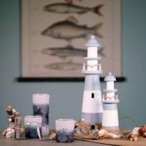 Leuchtturm Holz Blau-Weiß 22cm
