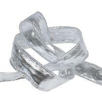 Dekoband Silber mit Drahtkante 25m