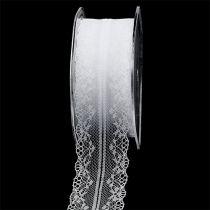 Dekoband Spitze Weiß 40mm 20m