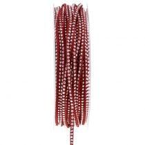 Dekokordel Lederband Rot mit Nietenbesatz 3mm 15m