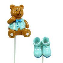 Dekostecker Bär, Schuh Blau 1,5-4cm 16St
