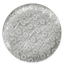 Dekoteller Silber mit Ornament Ø32cm