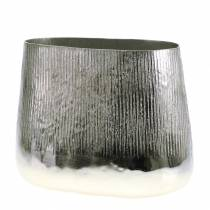 Dekotopf Oval Silber 35cm x 19cm H29cm