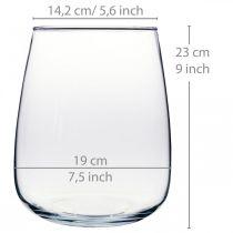 Dekovase, Blumenvase, Vase aus Glas Ø19cm H23cm