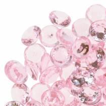 Dekosteine Diamant Acryl Hellrosa Ø1,2cm 175g für Geburtstagsdekoration