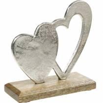 Dekoherz Silbern, Metallherz auf Mangoholz, Valentinstag, Tischdeko Doppelherz
