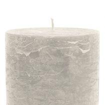 Durchgefärbte Kerzen Grau 85x120mm 2St