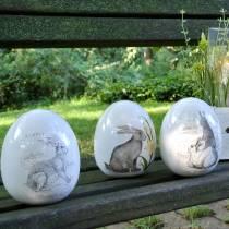 Ei Keramik Weiß Hase Ø12,5cm H16cm 2St