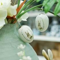 Ei zum Hängen Keramik Weiß Hase Ø5,5cm H7,6cm 12St