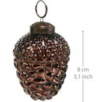 Eichel Glas Braun Deko-Zapfen zum Hängen Adventsdeko 5,5×8cm 12St