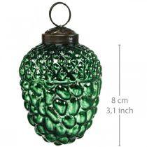 Eichel Glas Grün Herbstdeko Zapfen Christbaumschmuck 5,5×8cm 12St