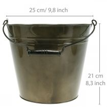 Eimer aus Metall, Pflanztopf, Metallgefäß Ø25cm H21cm