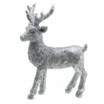 Weihnachtsdeko Hirsch Silbern/Glitter Polyresin H12,5cm