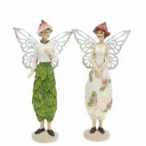 Deko-Figur Elfe Elfenpaar Weiß, Rosa, Grün H20cm 2St