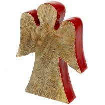 Engel Dekofigur Holz Rot, Natur 15cm