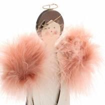 Engel mit Federflügeln Rosa 28cm Holz